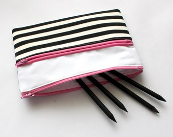 Cute Striped Pencil Case/ Makeup Bag 20cm x 13.5cm  With Two Pink Zippers