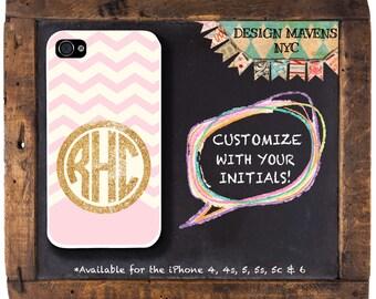 Gold Glitter Monogram iPhone, Custom Chevron iPhone Case, iPhone 8, 8 Plus, iPhone 7, 7 Plus, iPhone SE, iPhone 6, 6s, 6 Plus, iPhone 5s, 5c