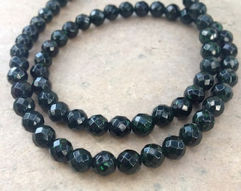 Green Goldstone, Faceted, 6mm, 16 inch strand