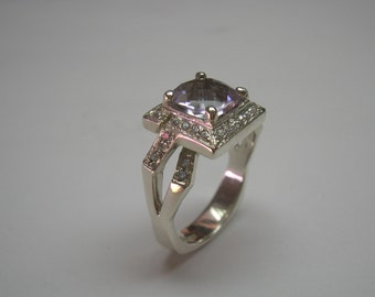 Gorgeous Pink Amethyst Ring In Sterling  Silver With Accent Stones