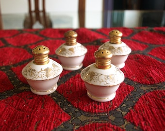 4 Vintage Irice Product Hand Painted Gold Decorated Salt and Pepper Shakers Japan