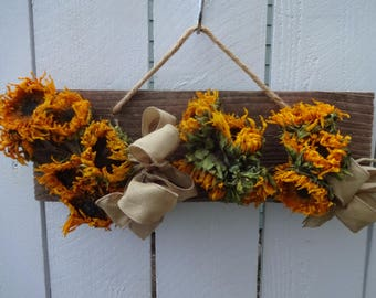 Sunflowers  Dried Sunflowers  Reclaimed Wood  Drying Rack  Home Decor  Rustic Decor  Indoor Decor  Dried Flowers  Wall Plaque