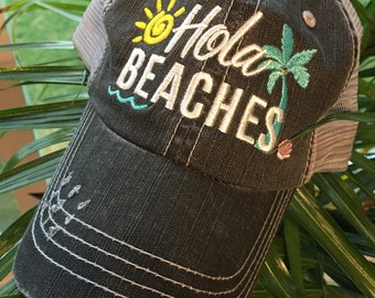 Hat { Hola beaches } Palm tree. Sun. Waves. Vacation. Sand.