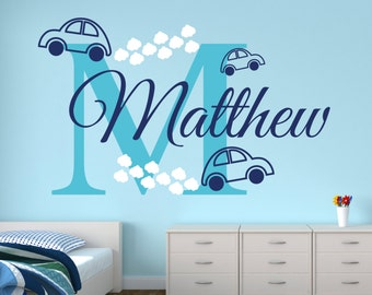 Name Wall Decal   Cars Wall Decal   Boy Custom Name Decal   Baby Room Decor