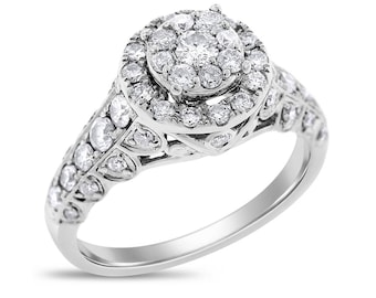 1.00 Ct. Natural Diamond Vintage Style Illusion Halo Ring In Solid 14k White Gold