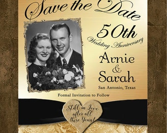 Save the Date Card - 50th Anniversary Gold Save the Date Card, Save the Date, 50th Save the Date, 50th Golden Anniversary Save the Date Card