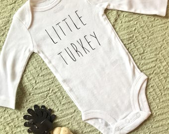Little Turkey Baby Bosysuit - baby thanksgiving outfit