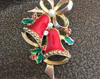 "Vintage 80's ""CHRISTMAS BELL BROOCH""  Gold Toned Enamel Christmas Brooch / Pin with Rhinestone & Pearl Accent"