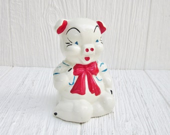 Vintage Piggy Bank, Ceramic Piggy Coin Bank, Money Bank, Collectible Nursery Decor, Pig Figurine