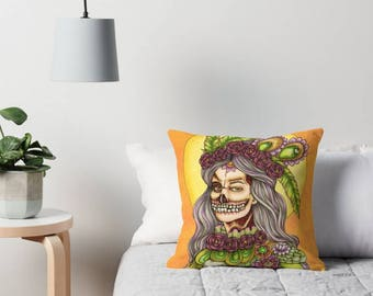 """Yellow Zombie Throw Pillow - Artwork by Mardel Rubio from """"Halloween color your fright book"""" - Halloween Pillowcase"""