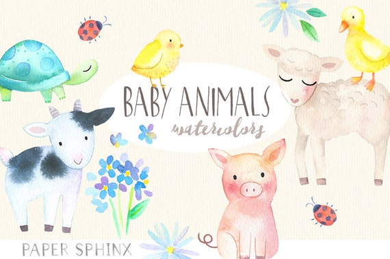 Baby Animals Watercolor Clipart Springtime Farm Animals
