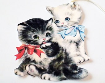 Black N White Cats - Cat Tags - Set of 3 - Retro Kittens -  1950's Cat Tags - Two Cats Tags - Kitty Friends Tag - Thank Yous - Pet Tags