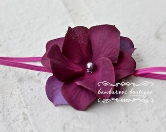 newborn headband, baby headband, fuchsia headband, plum purple small flower headband