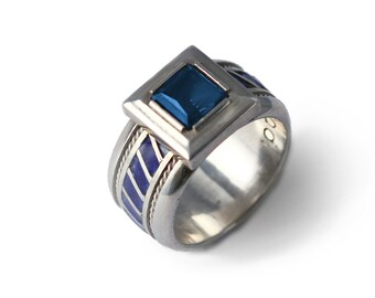 Ring for men and women - Aquamarine gemstone with blue enamel in sterling silver- jewelry gift