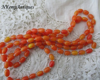 Faux amber bead necklace