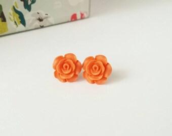 Orange stud earrings, orange rose studs, orange rose earrings, orange flower studs, orange earrings, orange studs, small rose studs