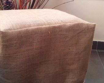 Burlap Ottoman Slipcover - Burlap Ottoman Cover with Luxury Fringe - Ottoman Cover - Chair Cover - Slipcover  - Rustic Decor - Home Decor