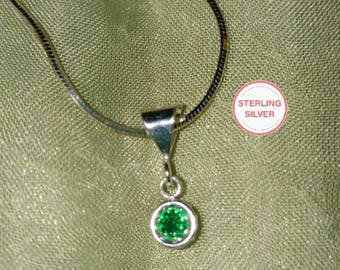 Emerald Green CZ Sterling Silver Snake Chain Necklace 20 Inch