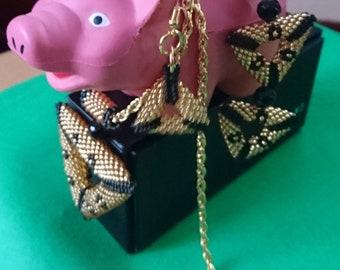 Triangles Miyuki Neclace Earring Bracelet Set (Gold/Black)