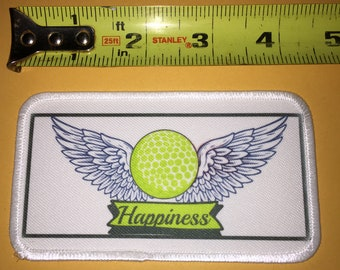 Golfing Happiness in flight iron on Patch golf