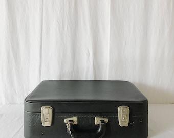 Vintage Black Vinyl Suitcase