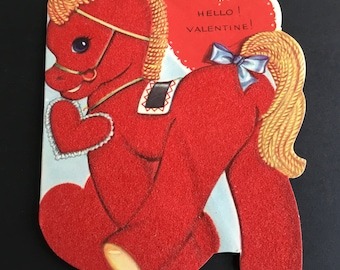Vintage Valentine's Day Greeting Card, Flocked Red Pony, a-meri-card