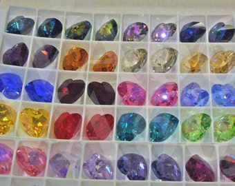 14mm Heart Swarovski Crystal Pendant 6202 AB 6228 Colours Loose Beads Jewelry Making