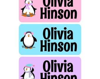CLOTHING TAG Labels Clothing Label Laundry Safe Peel and Stick Laundry Care Tag Labels Daycare Label Uniform Labels - Cute Penguins