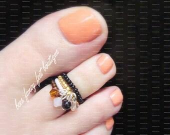 Stacking Charm Rings, Cinnamon, Honey, Dangle Crystal Charm Toe Rings, Stretch Bead Toe Rings