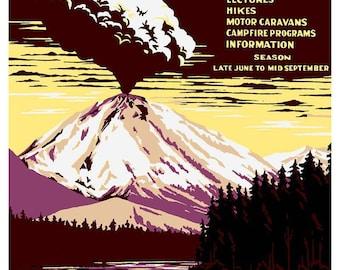 Lassen Volcanic National Park - National Park poster ~ Volcano ~ California Nature ~ Cabin art ~ Camping poster ~ Giclee Fine Art Print