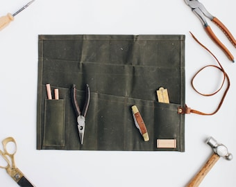 Waxed Canvas Tool/Utility Roll - Field Work Co. Leather, Motorcycle Tool Roll