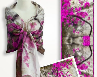 Silk bougainvillea floral scarf, unique gift for mom, magenta pink scarf Valentine day gift, stocking stuffer for women gift for grandmother