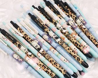 Gel Pens - Fancy Soft DOLL ( Blue/Aqua/Leopard) Planner Pens / Teacher Gift / Life Planner Accessories Stationery