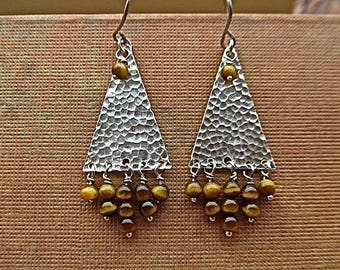 sterling silver earrings with tigereye beads