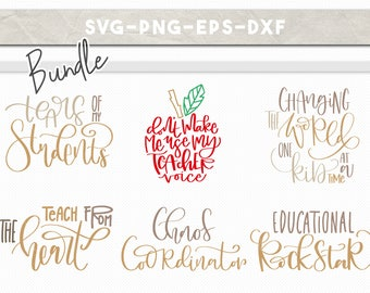 teacher svg bundle, teacher svg, school clipart, handlettered svg, teacher appreciation, svg dxf eps png, cricut downloads, commercial use
