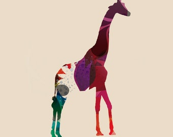 Giraffe  - Print Poster -  Home Decor - African Style - Digital Collage - Minimal - Animal - Kids Room