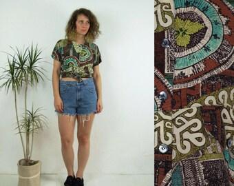 80's vintage women's colorful patterned boho shirt