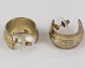 Pierced Earrings Silver Plate Half Hoop, Wide hoop pierced earrings, Engraved design, Silver earrings, Silver jewelry