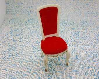 Ideal Red velvet dining room  Chair   Doll House Toy Hard Plastic
