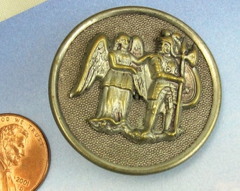 Huge Victorian Button Gabriel and the Angel Picture Button Antique Brass Button 48