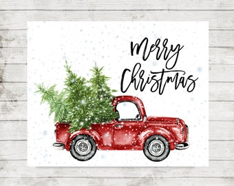 Merry Christmas Printable Retro Truck With Trees Snowflakes Print Home Decor Red