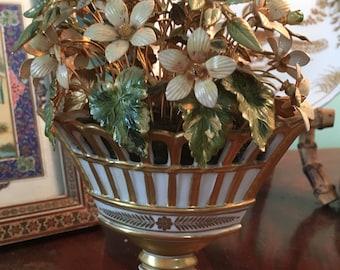 Gorham Miniature Floral Arrangement,  Vintage Enamel Flowers, Vintage Metal Sculpture, Jane Hutcheson Sculpture