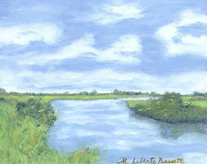 Delaware Bay to Leipsic River,  Daily Oil Painting - Free Shipping