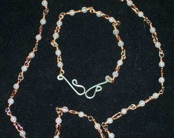 Celtic Rose Quartz Knot Necklace & Bracelet Set
