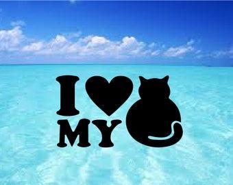 "Decalaque sticker ""I love my cat"", kitten, love cat, i love my cat"