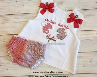 House divided baby, house divided girl, house divided dress and bloomers, SEC dress and bloomers, college team house divided outfit