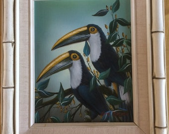 OIL PAINTING on canvas signed Gary Perlman with mat & Bamboo Style frame and vibrant colors.