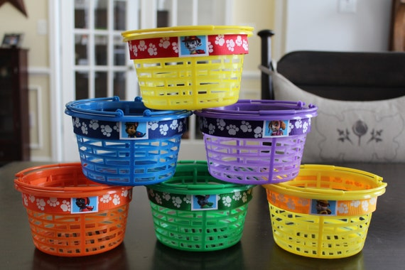 Items similar to set of 6 paw patrol dogs easter baskets or party items similar to set of 6 paw patrol dogs easter baskets or party favor containers on etsy negle Image collections