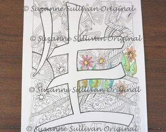 Coloring Page, Live coloring page, Japanese Kanji Live coloring page, adult coloring page, Printable download, Zen Doodle coloring page