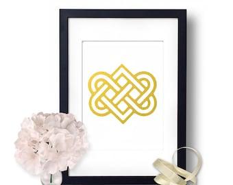 Celtic Knot, Gold Foil Art, Gold Foil Print, Celtic Home Decor, Knot, Celtic, Lovers Knot